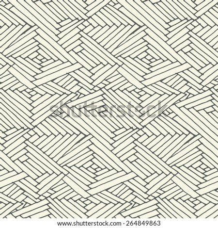 Black and white seamless pattern in doodle style. Vector illustration.