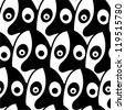 Black and white seamless pattern made of stylized faces. - stock photo