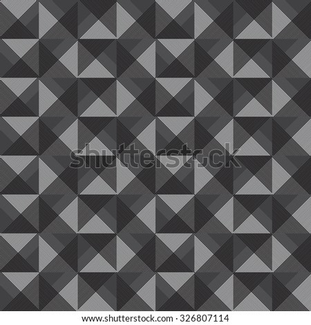 Black and white seamless pattern of volumetric squares, and triangles - stock vector