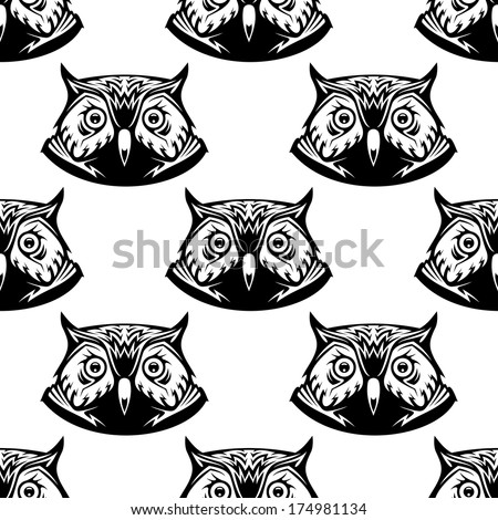 Black and white seamless pattern of wise owl heads with big eyes looking directly at the viewer, vector illustration - stock vector