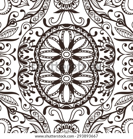 Black and white seamless pattern tribal ethnic ornament, islamic arabian indian motif.  Abstract vector geometric background