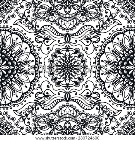 Black and white seamless pattern tribal ethnic ornament. Vector geometric background - stock vector