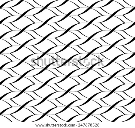 Black and white seamless pattern twist line style, abstract background, vector, illustration. - stock vector
