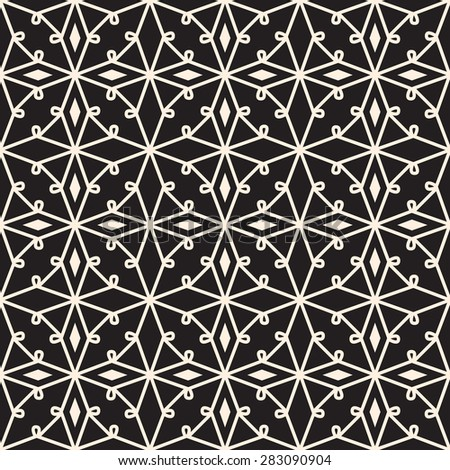 Black and white seamless pattern, vector lace texture - stock vector