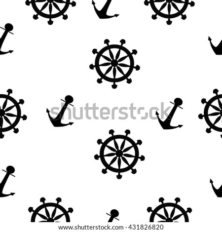 black and white seamless pattern with anchor and helm