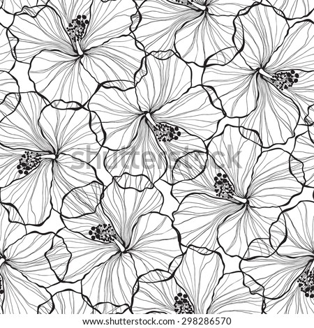 Black and white  seamless pattern with hibiscus flowers. - stock vector