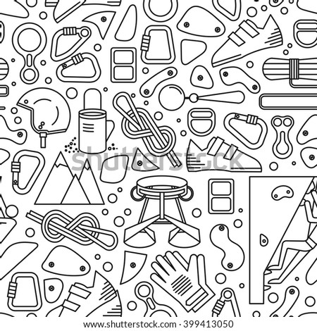 Black and white seamless pattern with image of climbing equipment. Completed in linear style. - stock vector