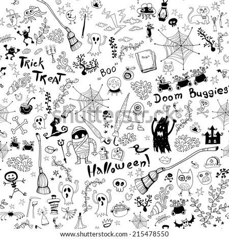 Black and white seamless pattern with sketch elements to the day of All Saints.  Halloween hand drawn pattern with skulls, spider web, ghost, text, broom, tombstones, skeletons, witch, crow, castle.