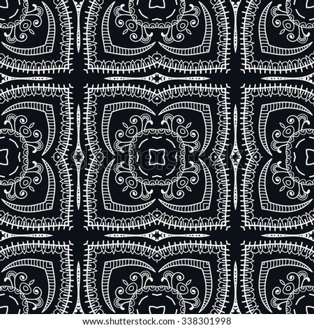 Black and white seamless sketchy doodle pattern, tribal ethnic ornament. Hand drawn abstract background with geometric repeating texture.  - stock vector