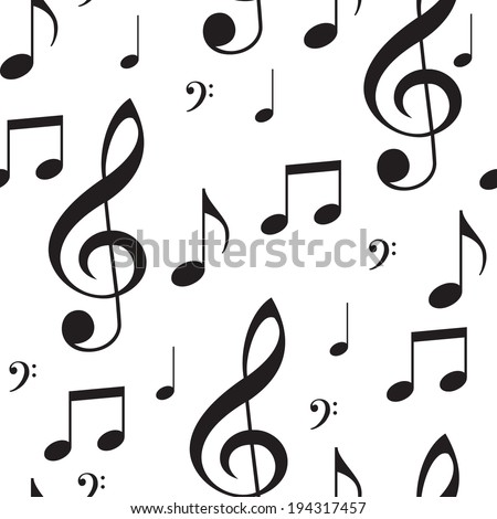 Black and white seamless texture musical notes