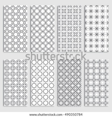 Black and white seamless vertical patterns borders set, repeating line texture. Seamless geometric patterns collection for background, banner, card or invitation. Tribal ethnic outline ornament