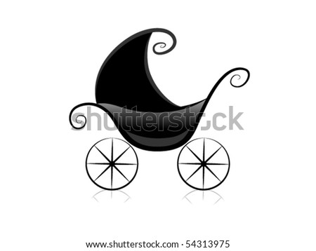 Black and White Series: Pram - Vector - stock vector