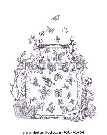 Butterfly And Fireflies Adult Coloring Page