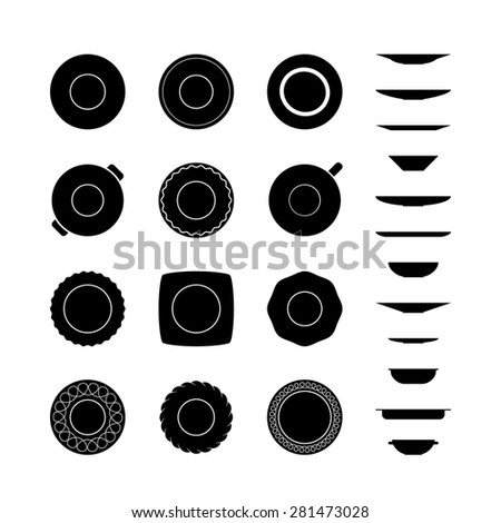 Black and white set of different icons plates top and side views isolated on white background. Collections of monochrome empty dishes silhouettes. Tableware icon set. - stock vector
