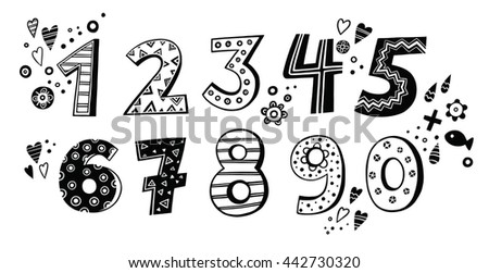black and white set of digits from 0 to 9 - stock vector