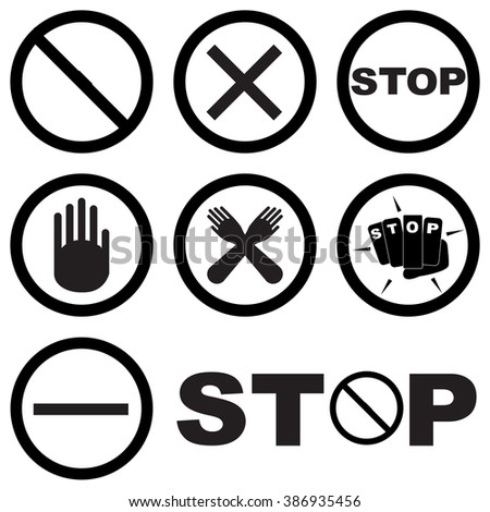 Black White Set Stop Signs Symbols Stock Vector 386935456 Shutterstock
