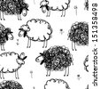 Black and white sheeps on meadow, seamless pattern for your design - stock
