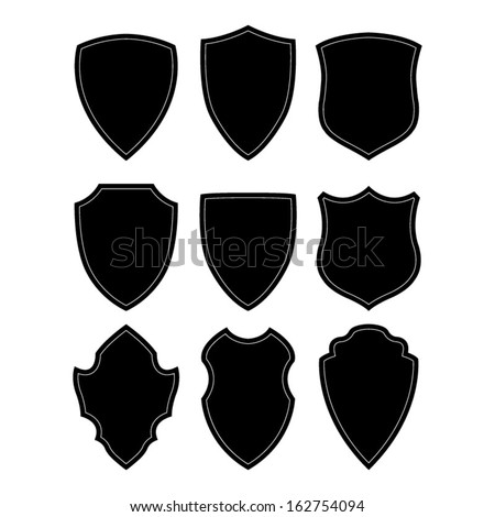 Black and white shield silhouette - stock vector