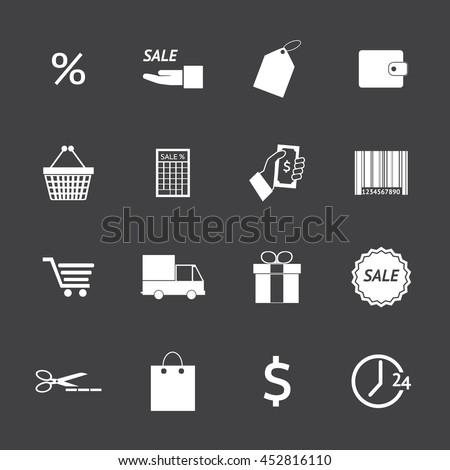 Black and White Shopping icons set. Illustration eps 10 - stock vector