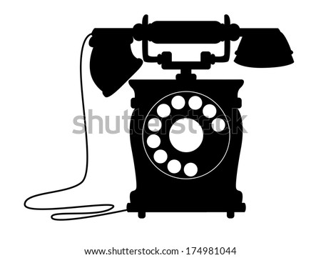Black and white silhouette illustration of an old-fashioned dial up telephone with a handset on a cradle - stock vector