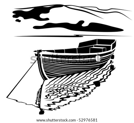 Black and white silhouette image of traditional  fisherman boat