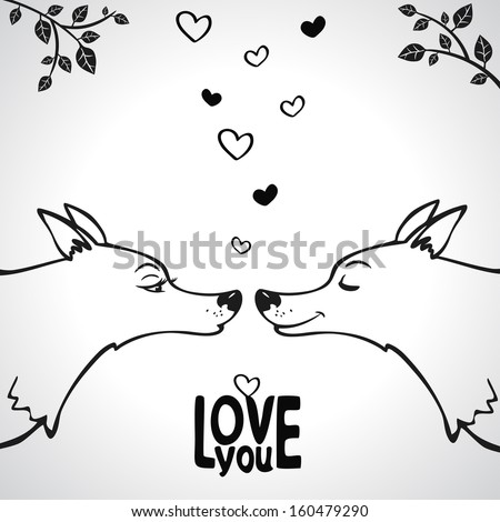 black and white silhouette love of two wolves - stock vector