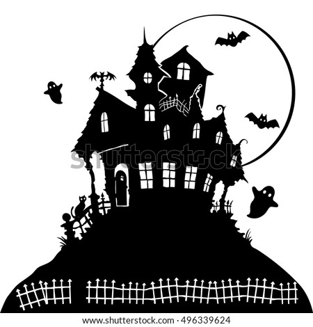 black white silhouette terrible haunted house stock vector