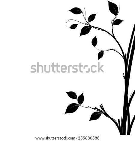 Black and white silhouette of a tree, natural decorative element to use as a background.
