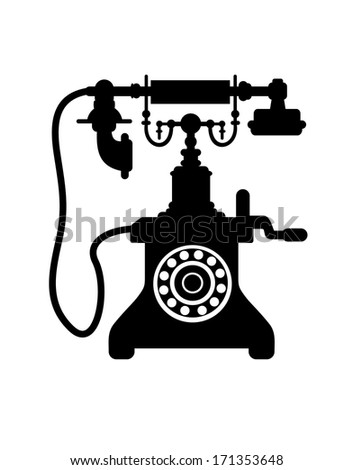 Black and white silhouette of an old vintage telephone with a crank handle, dial and mouthpiece on a cradle