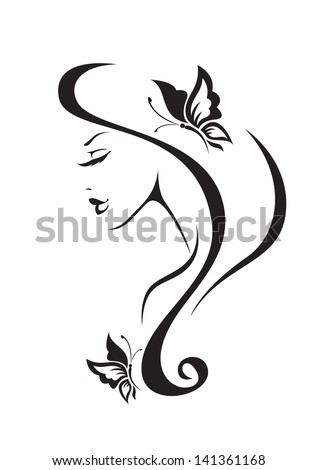 Black and white silhouette of the girl - stock vector