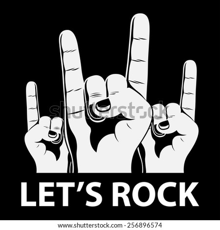 black and white silhouette picture of human hands showing rock sign - stock vector
