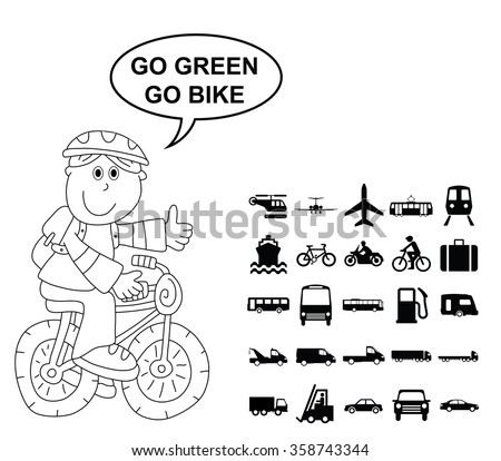 Black and white silhouette transport and travel related graphics collection isolated on white background with go green go bike message - stock vector