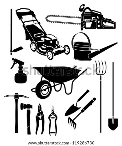 black and white silhouettes of a garden equipment - stock vector