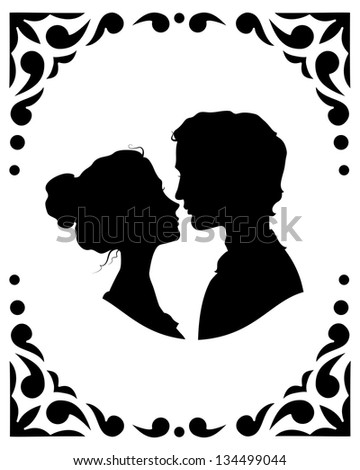Black and white silhouettes of loving couple - stock vector