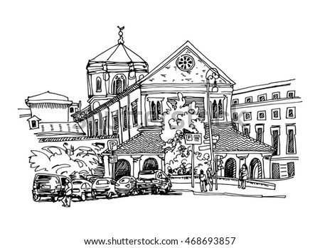 black and white sketch drawing of Rome cityscape, Italy old historical building, vector illustration