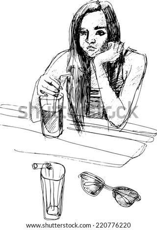 black and white sketch of a girl drinking a cocktail
