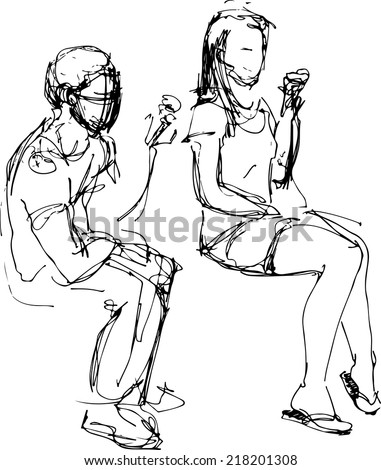 black and white sketch of a guy and a girl eating ice cream