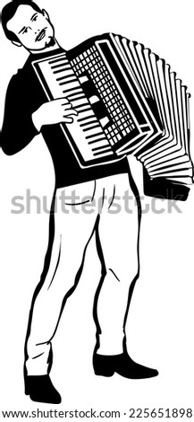 black and white sketch of a man playing the accordion  - stock vector