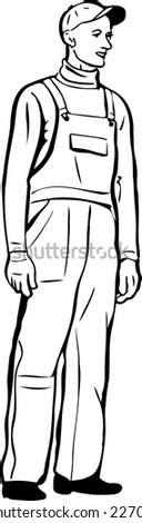 black and white sketch of a worker in a cap and gloves, coveralls  - stock vector