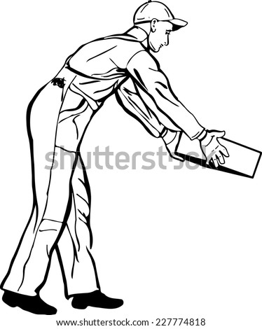 black and white sketch of a worker in a cap and gloves coveralls  - stock vector