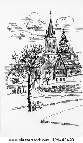 Black and white sketch of building and trees vector  - stock vector