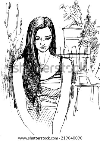 black and white sketch of girl walking garden  - stock vector