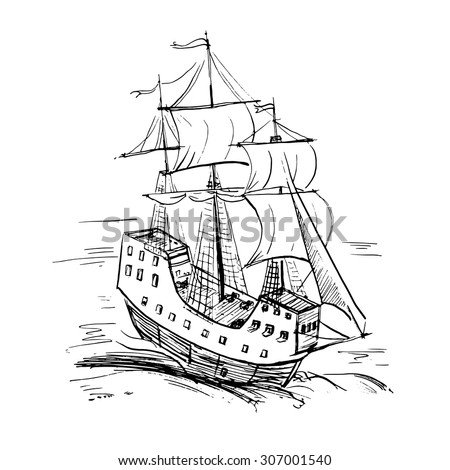 Black and white sketch of retro sailing ship, vector illustration.