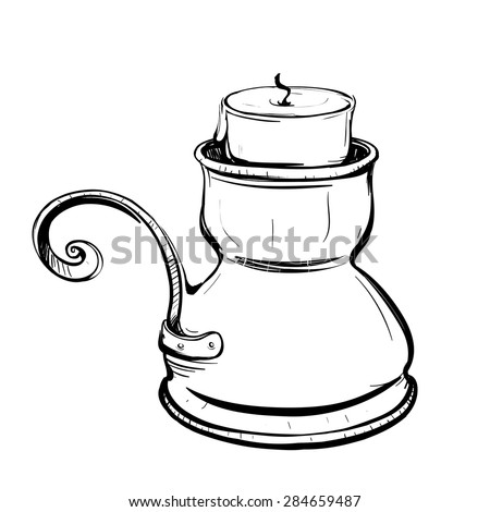 Black and white sketch of stylized retro candlestick with a candle on a white background