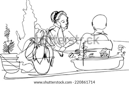 black and white sketch of two women at the table  - stock vector