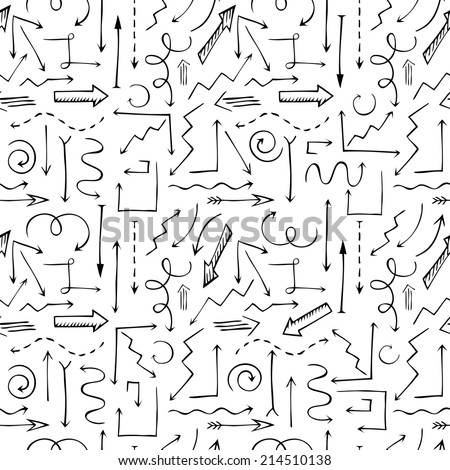 Black and white sketchy seamless pattern. Hand-drawn arrows for your design and business presentations. - stock vector