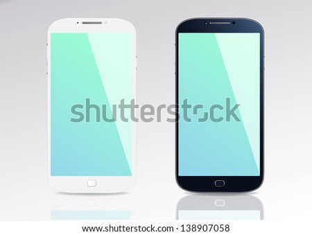 Black and white smart phones  on the grey background. - stock vector