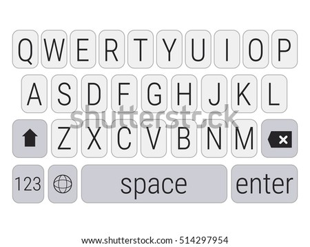 black and white smartphone qwerty keyboard vector mockup mobile phone keypad upper letters smart