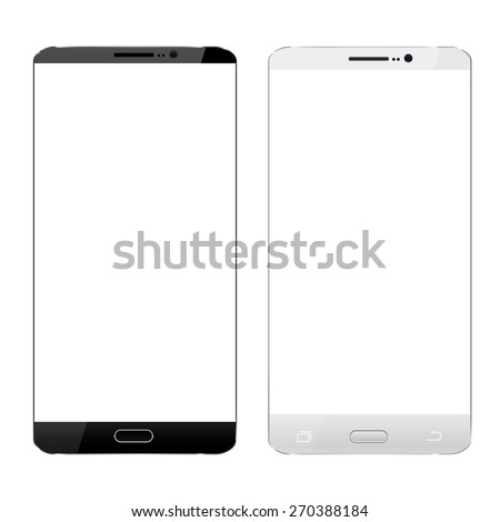 black and white smartphone realistic design isolated white - stock vector