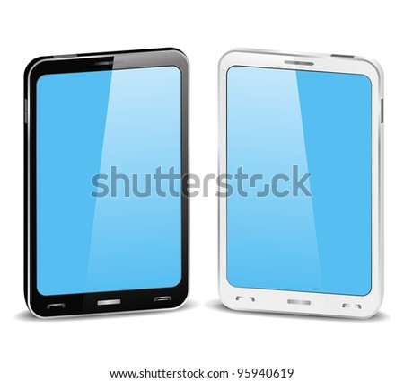 Black and white smartphones on white background - stock vector